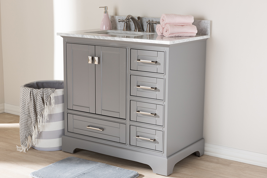 Wholesale Interiors Transitional Grey Finished Wood Marble Single Sink