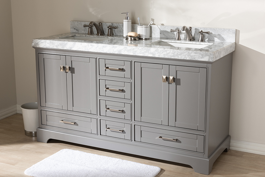 Wholesale Interiors Transitional Grey Finished Wood Marble Double Sink