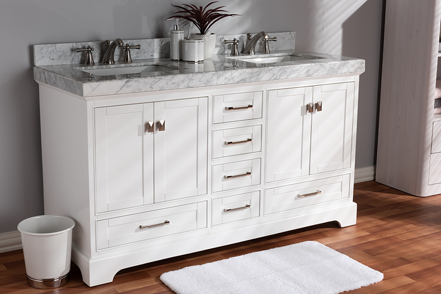 Wholesale Interiors Transitional White Finished Wood Marble Double Sink