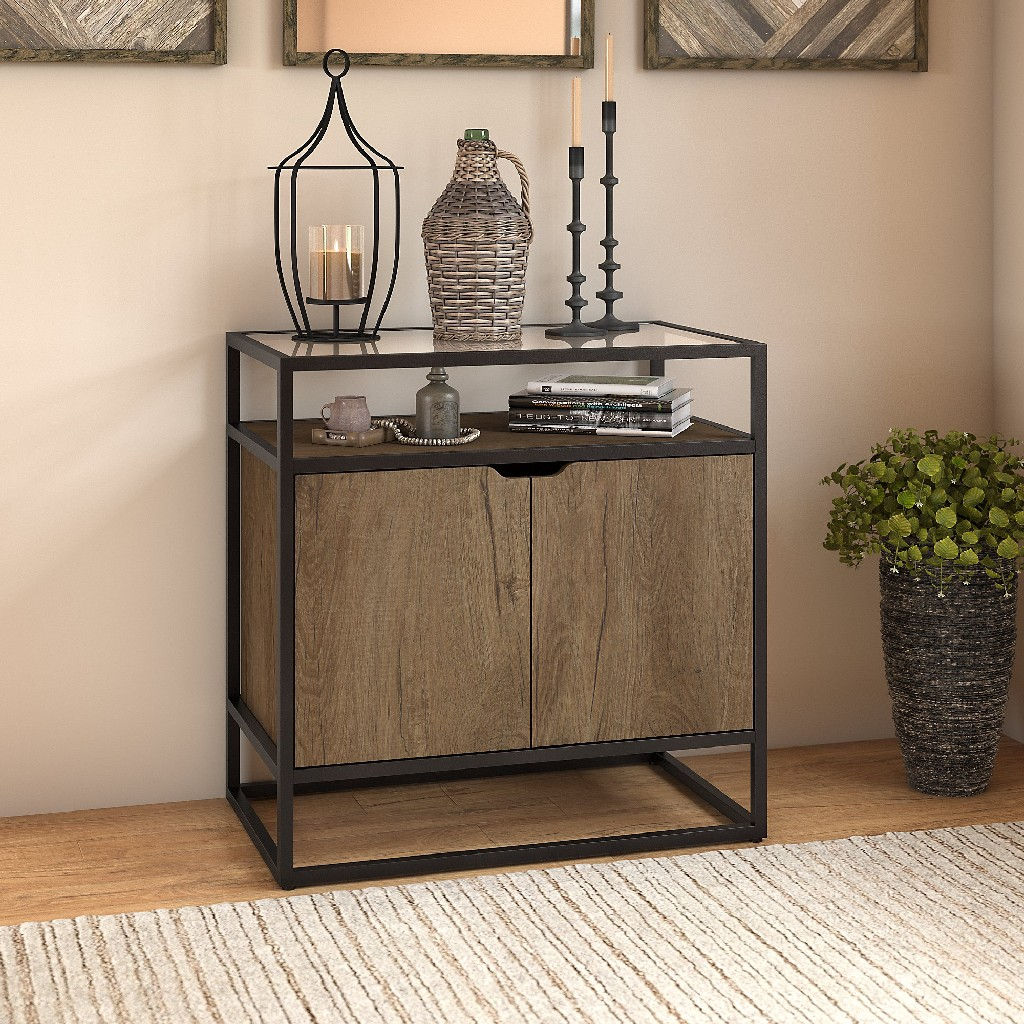Anthropology Small Storage Cabinet w/ Doors in Rustic Brown Embossed - Bush Furniture ATS130RB-03