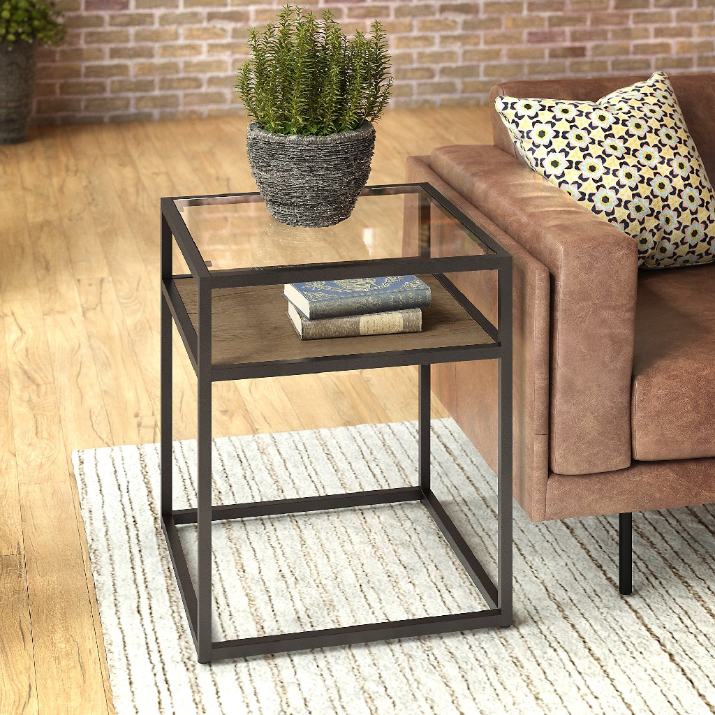 Anthropology Glass Top End Table in Rustic Brown Embossed - Bush Furniture ATT120RB-03