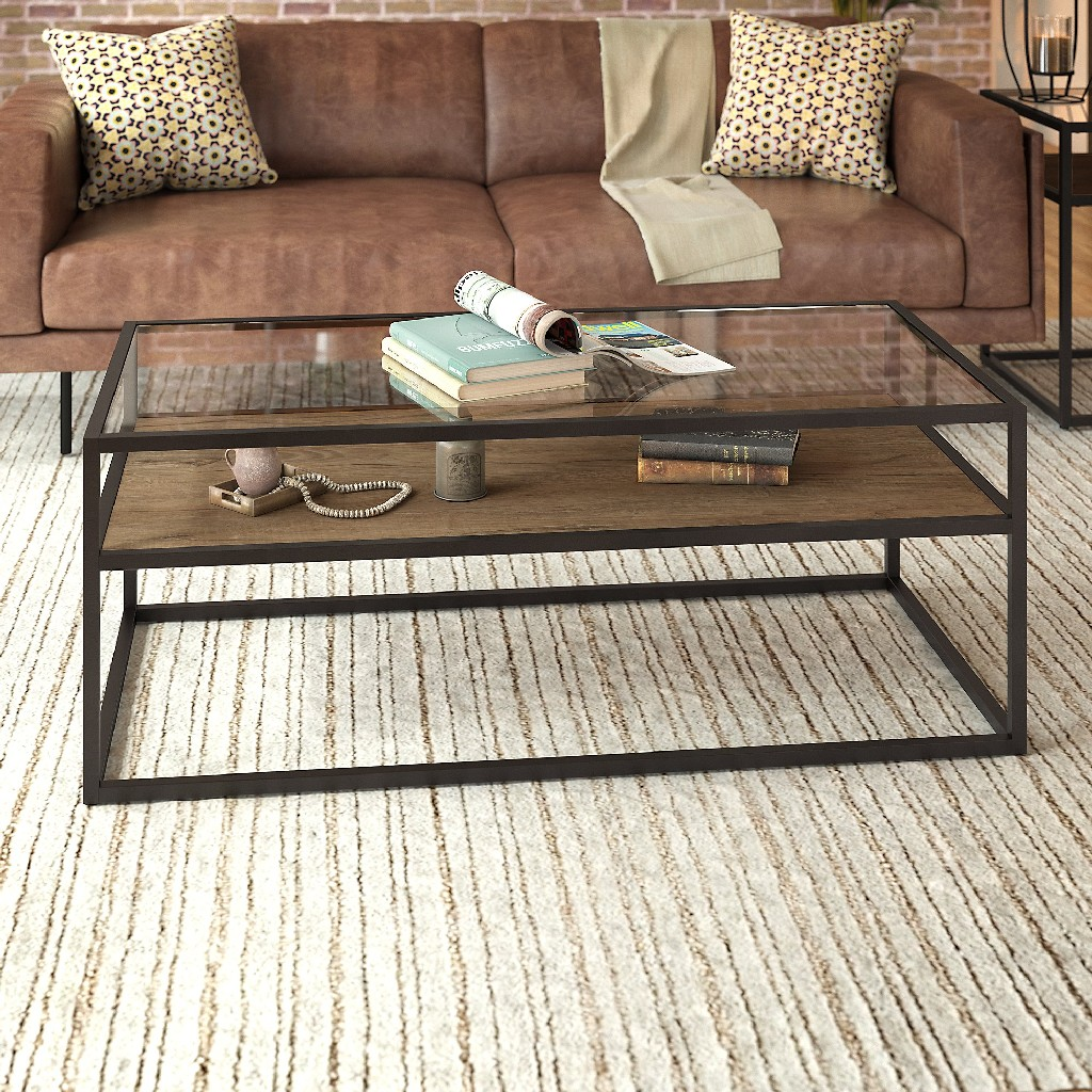 Anthropology Glass Top Coffee Table in Rustic Brown Embossed - Bush Furniture ATT148RB-03
