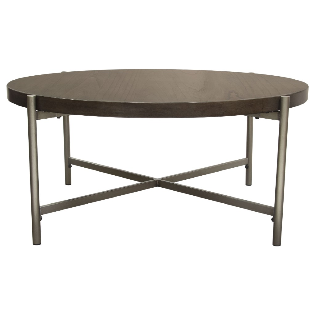 """Atwood 40"""" Round Cocktail Table w/ Grey Oak Veneer Top & Brushed Silver Metal Base - Diamond Sofa ATWOODCTGRSL"""