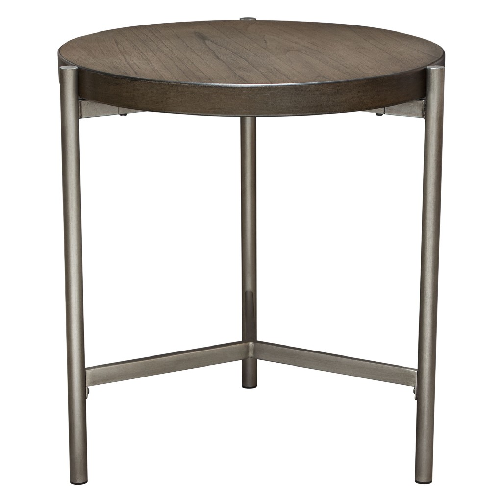 "Atwood 22"" Round End Table w/ Grey Oak Veneer Top & Brushed Silver Metal Base - Diamond Sofa ATWOODETGRSL"