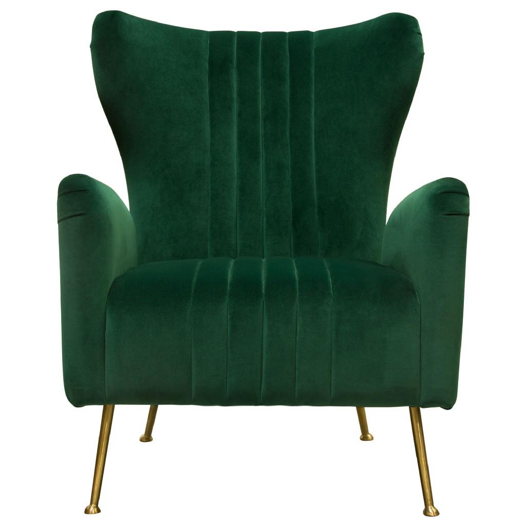 Ava Chair in Emerald Green Velvet w/ Gold Leg - Diamond Sofa AVACHEM