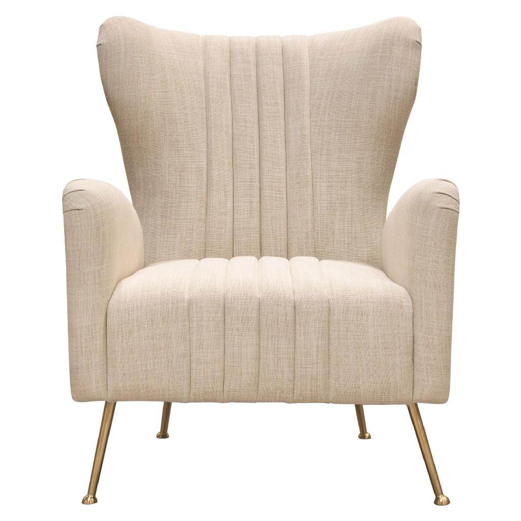 Ava Chair in Sand Linen Fabric w/ Gold Leg - Diamond Sofa AVACHSD