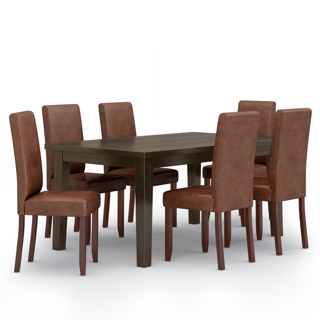 Acadian SOLID HARDWOOD 7 Piece Dining Set in Distressed Saddle Brown - Simpli Home AXCDS7-ACA-DSB