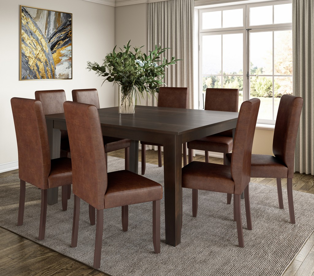 Acadian SOLID HARDWOOD 9 Piece Dining Set in Distressed Saddle Brown - Simpli Home AXCDS9-ACA-DSB