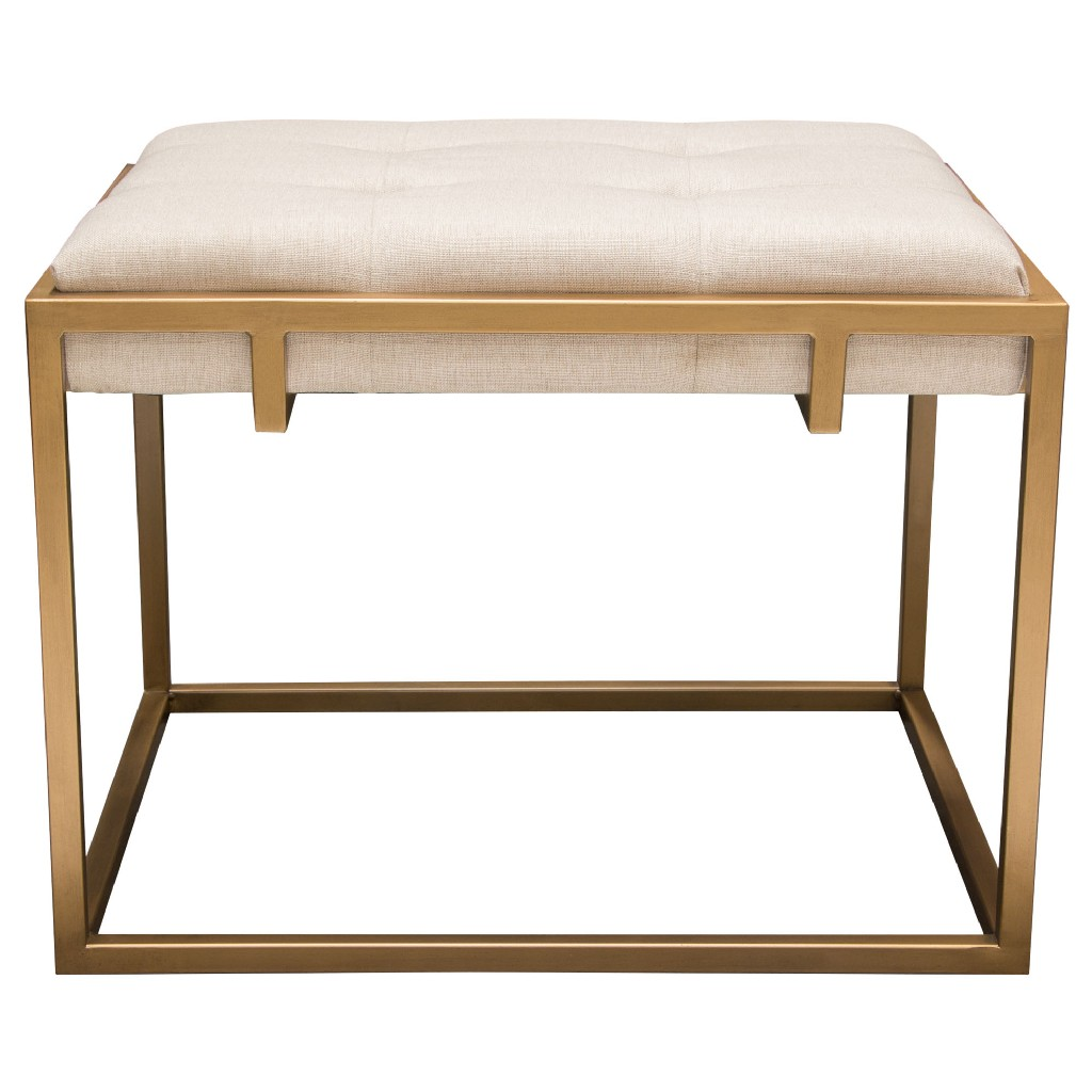 Babylon Small Accent Ottoman w/ Brushed Gold Frame & Padded Seat in Sand Linen - Diamond Sofa BABYLONOTSDGD