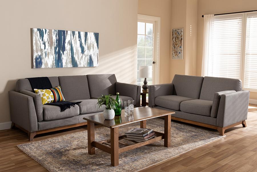 Wholesale Interiors Sava Mid Century Modern Grey Fabric Upholstered Walnut