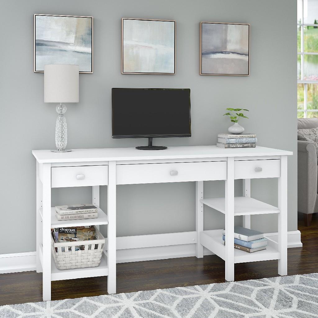 Broadview 60W Desk w/ Storage Shelves & Drawers in White - Bush Furniture BDD160WH-03