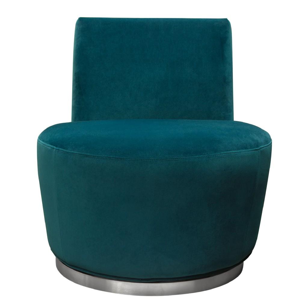 Blake Swivel Accent Chair in Teal Velvet Fabric w/ Polished Stainless Steel base - Diamond Sofa BLAKECHTL