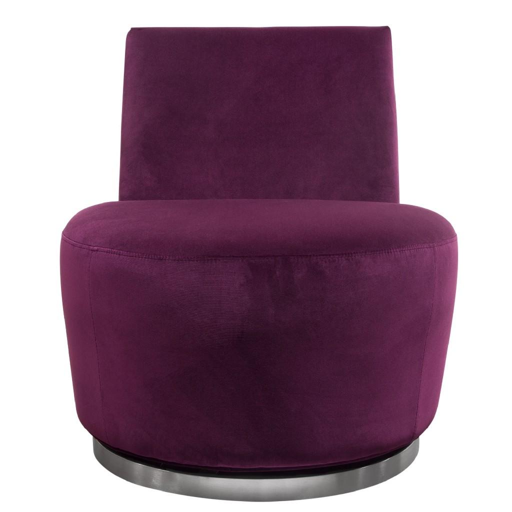 Blake Swivel Accent Chair in Ultra Violet Velvet Fabric w/ Polished Stainless Steel base - Diamond Sofa BLAKECHVI