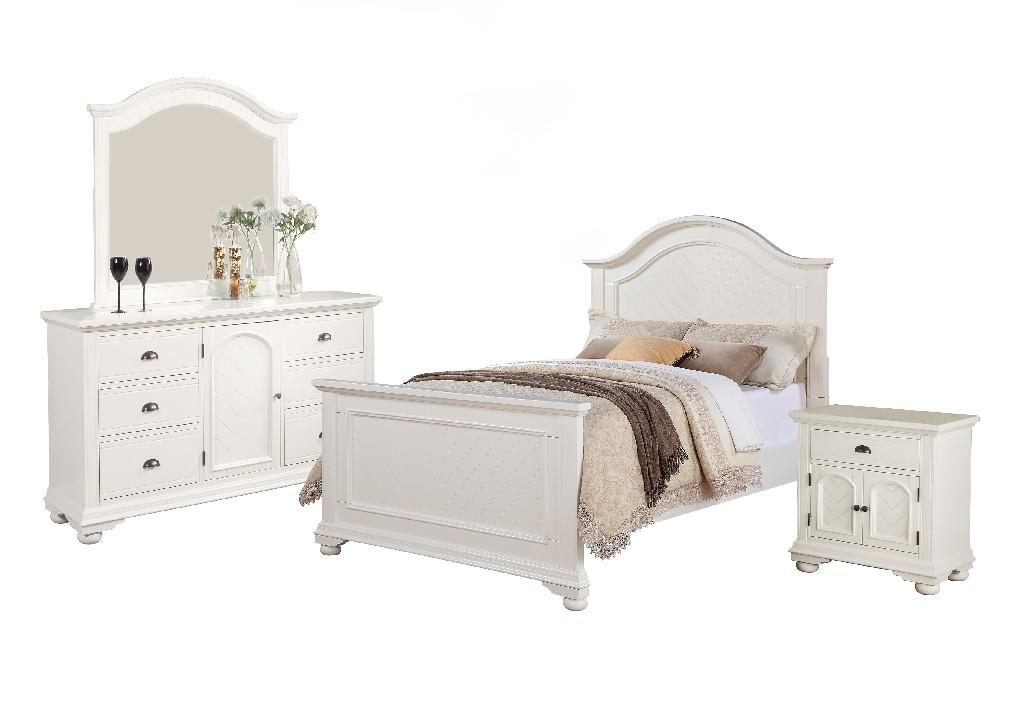 Addison White Full Panel 4PC Bedroom Set - Picket House Furnishings BP700FB4PC