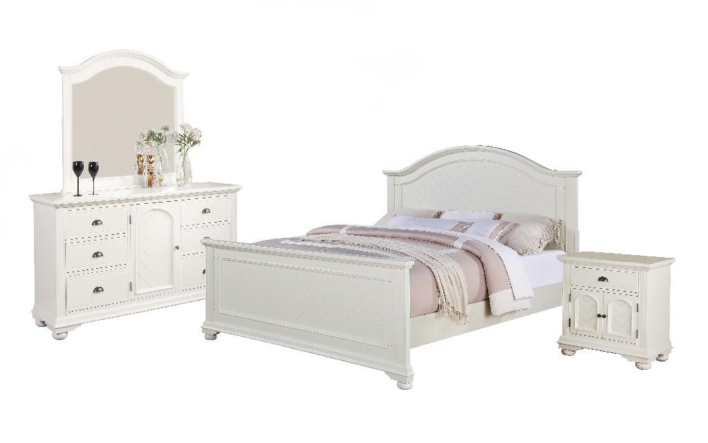 Addison White King Panel 4PC Bedroom Set - Picket House Furnishings BP700KB4PC
