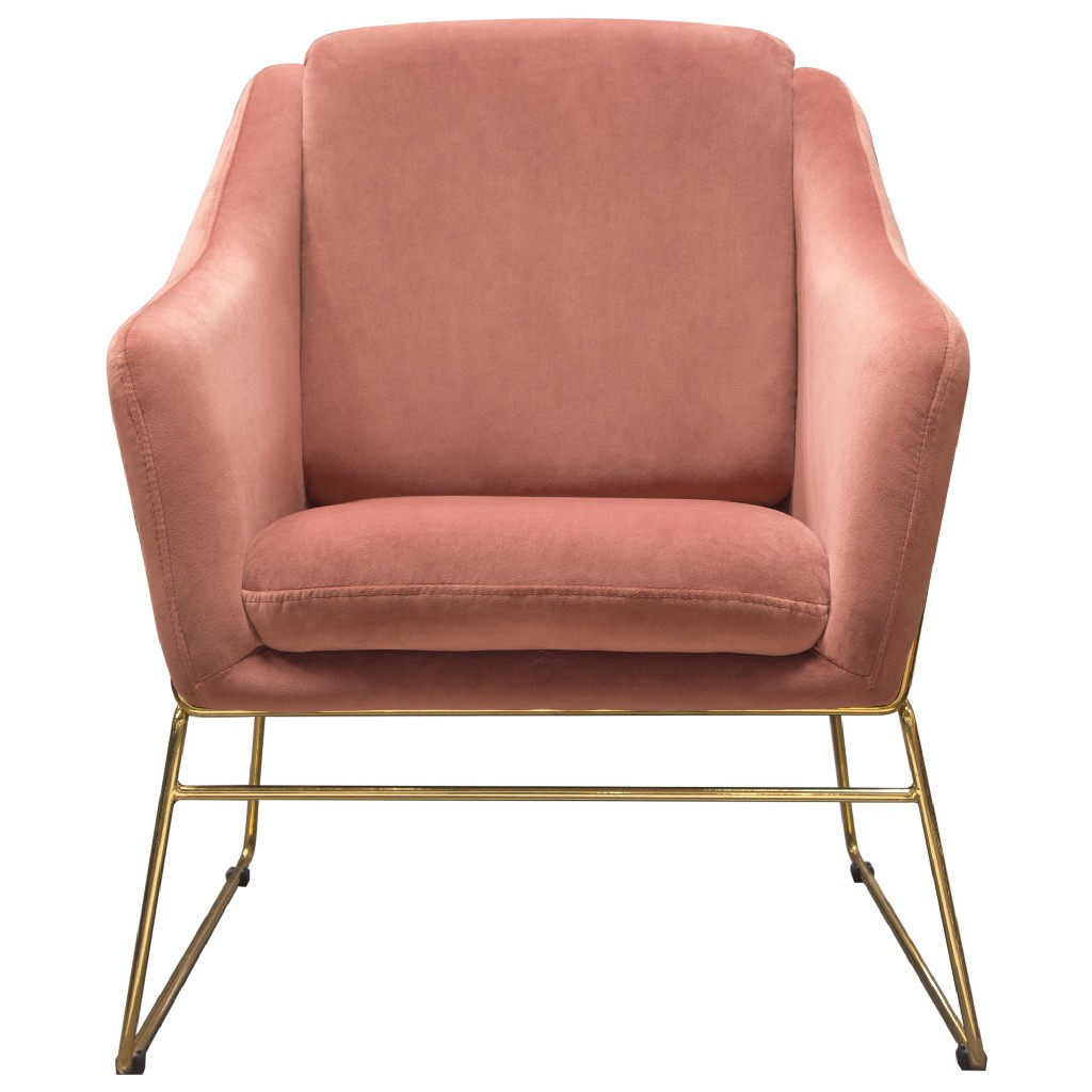 Diamond Sofa Bryce Accent Chair Rose Velvet Wrapped Gold Metal Frame