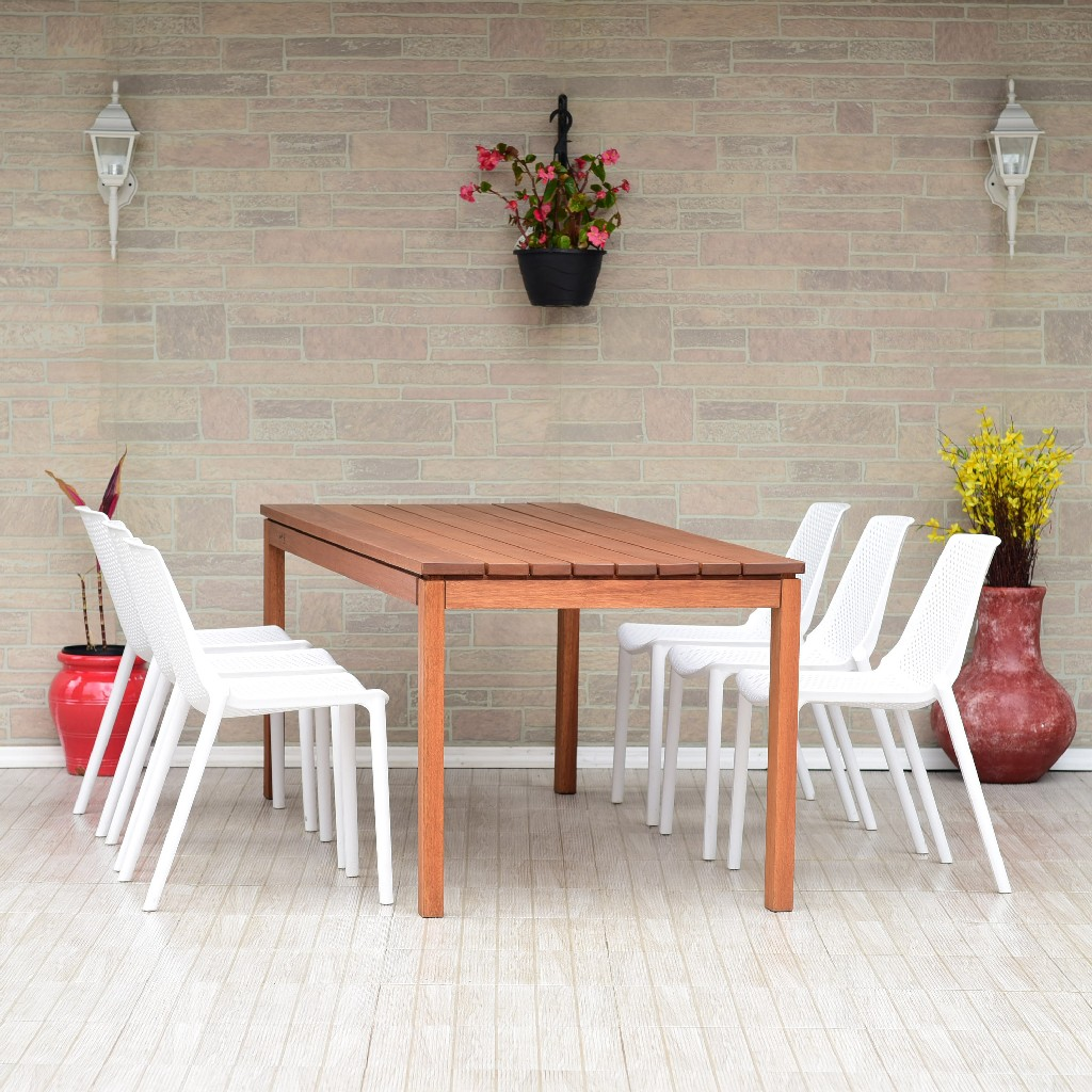 International Home Furniture Wood Dining Set Patio Photo