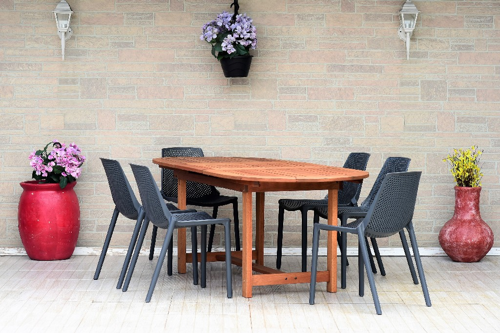 International Home Extendable Oval Dining Set Patio