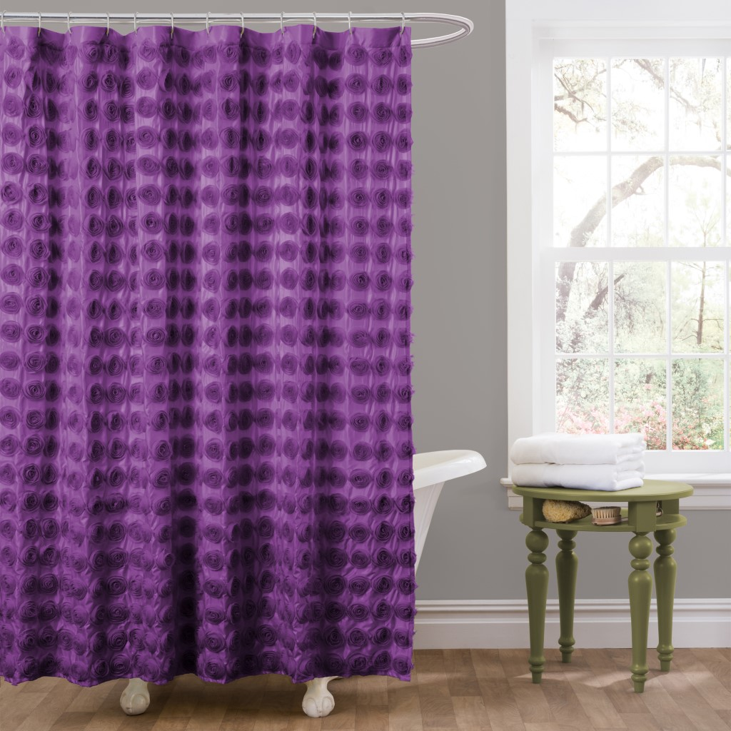 Emma Purple Shower Curtain 72x72 Lush Decor C15179p13 000