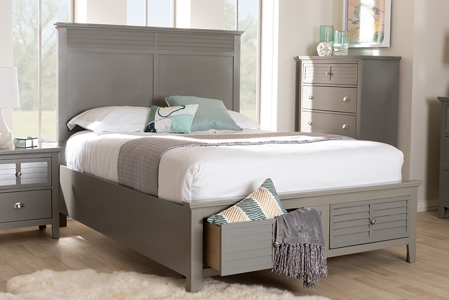 Wholesale Interiors Indira Transitional Grey Finished Wood Queen Size Bedroom Set