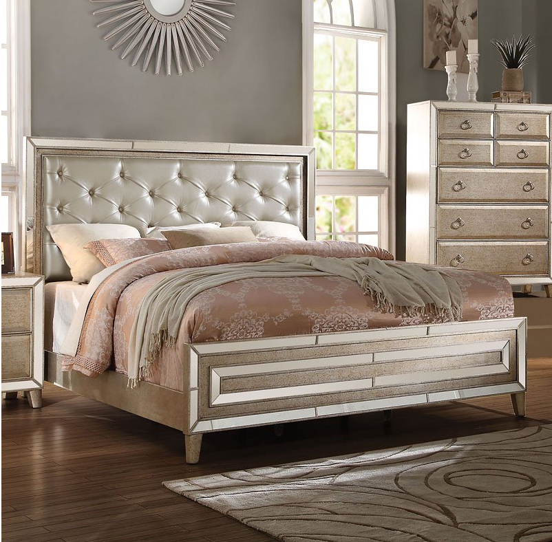 Acme California King Bed Matte Gold Pu Antique Gold