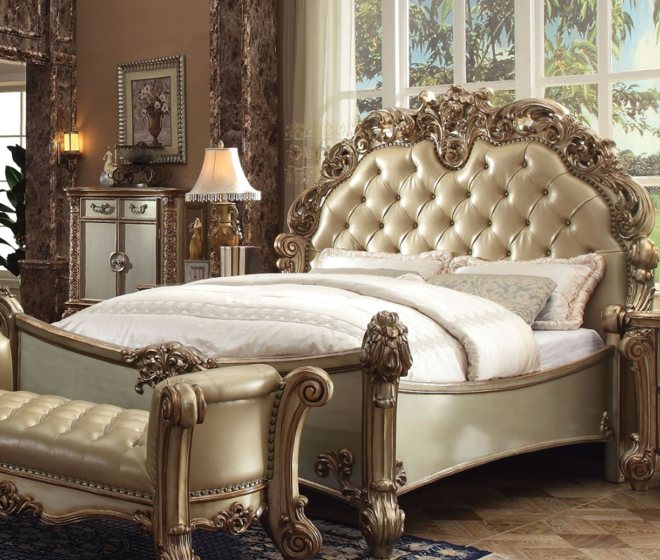 Acme California King Bed Bone Pu Gold Patina