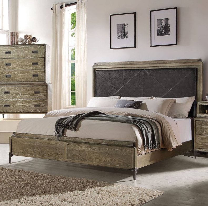 Acme California King Bed Panel Pu Weathered Oak