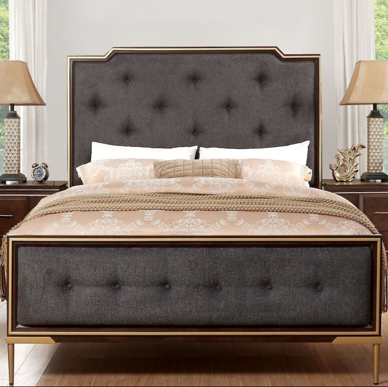 Acme Eschenbach California King Bed Charcoal Fabric Cherry