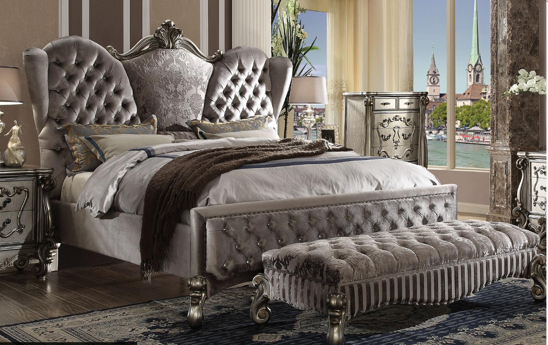 Acme California King Bed Velvet Antique Platinum