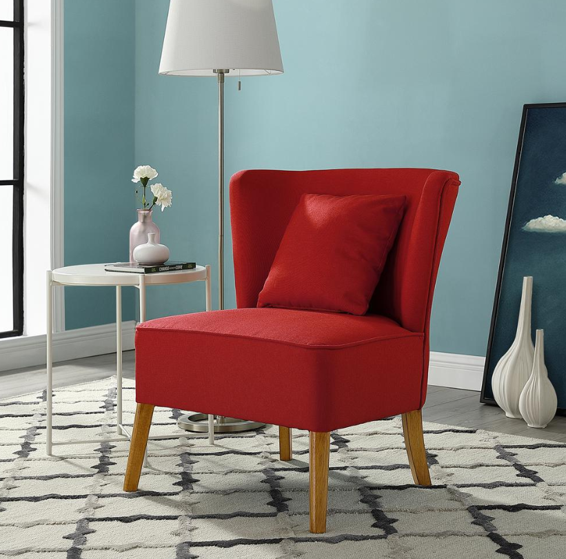 Accent   Modern   Chair   Back   Red