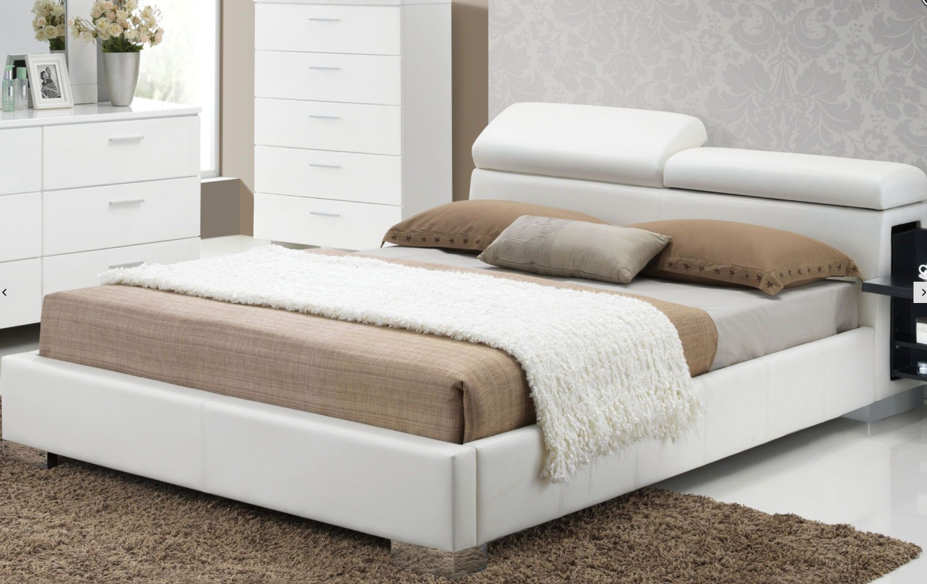 Acme Manjot California King Bed Hidden Side Storage White Pu