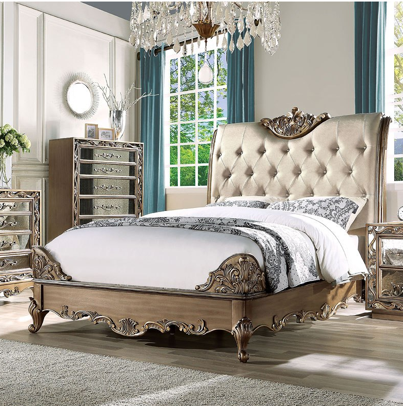 Acme California King Bed Champagne Pu Antique Gold
