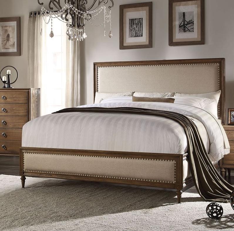 Acme Parker California King Bed Beige Linen Reclaimed Oak