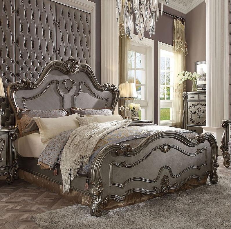 Acme California King Bed Antique Platinum