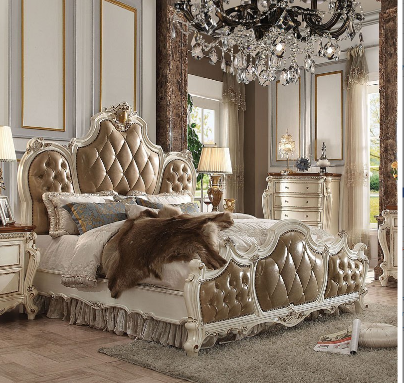 Acme California King Bed Pu Antique Pearl