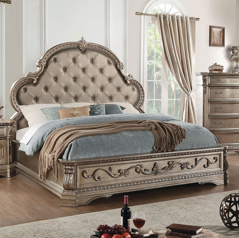 Acme California King Bed Pu Antique Champagne
