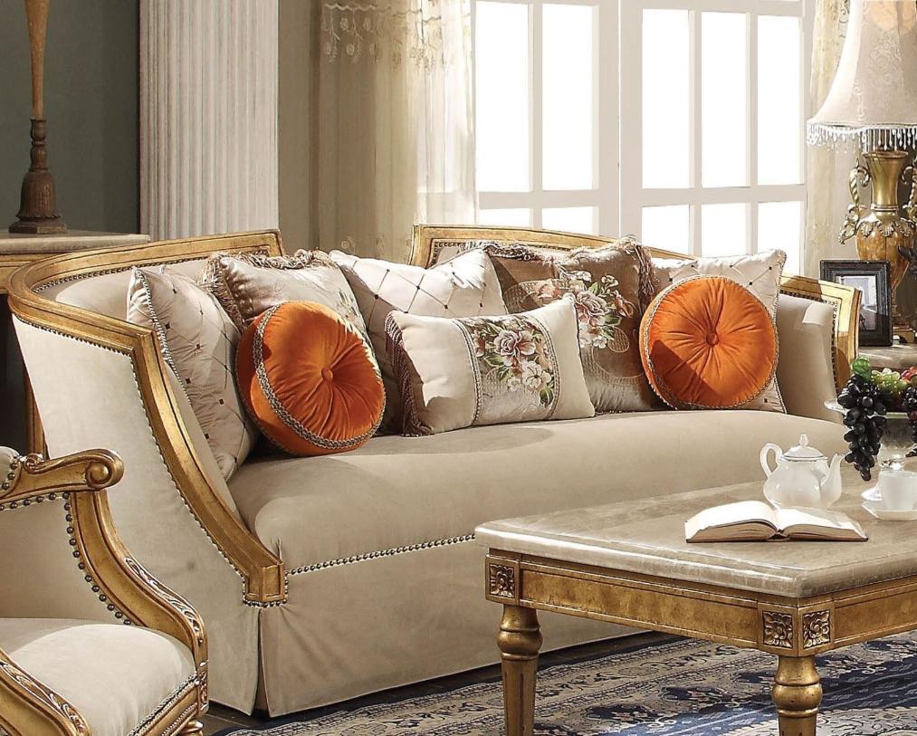 Acme Daesha Sofa Pillows Fabric Antique Gold