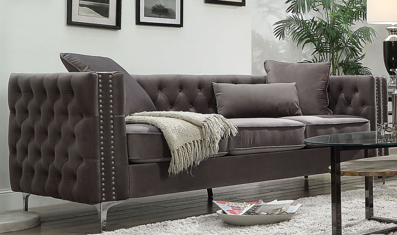 Acme Gillian Sofa Pillows Dark Gray Velvet