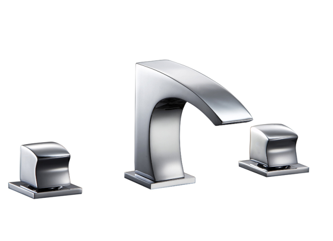 3-Hole, 2-Square Handle Widespread Lavatory Faucet in Chrome (Standard Pop Up Drain D90 0056C Included) - Dawn® AB77 1584C