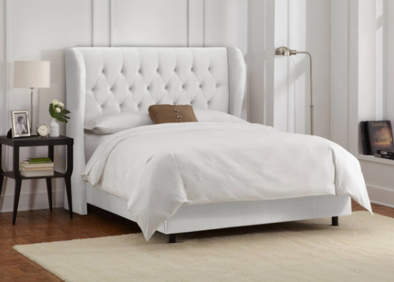 Skyline Queen Tufted Wingback Bed Velvet White