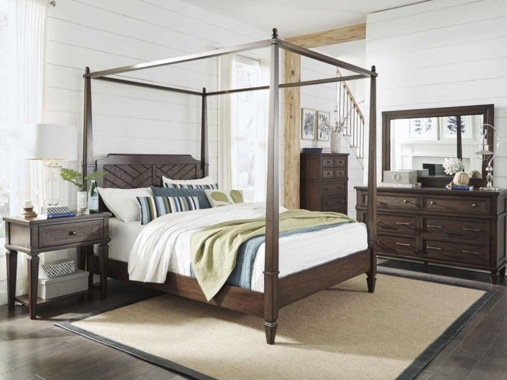 Progressive Coronado Complete Queen Canopy Bed Sable
