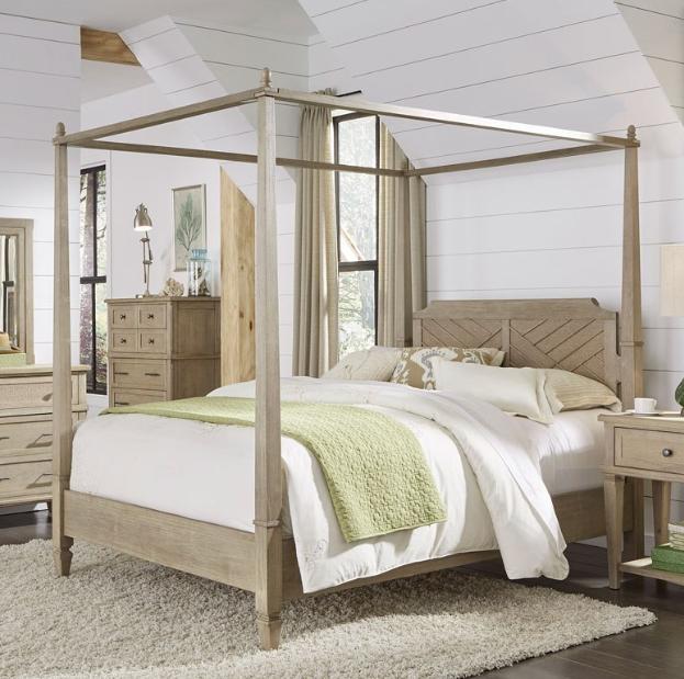 Progressive Coronado Complete Queen Canopy Bed Flax