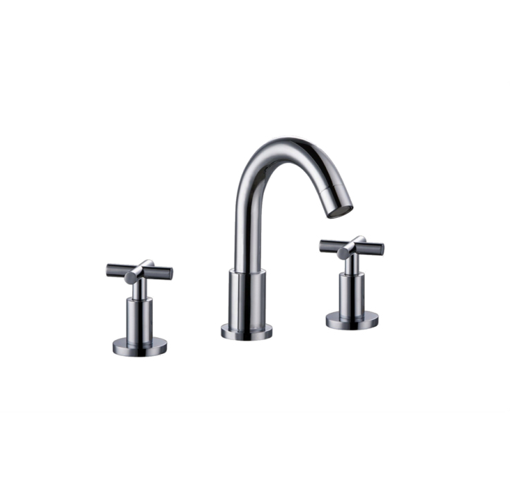 "3-Hole Widespread Lavatory Faucet w/ Cross Handles For 8"" Centers in Chrome (Standard Pull-Up Drain w/ Lift Rod D90 0010C Included) - Dawn® AB03 1513C"