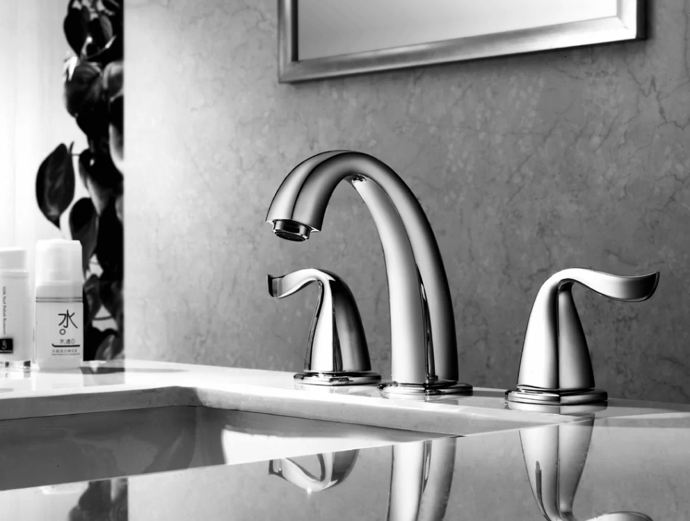 "3-Hole Widespread Lavatory Faucet w/ Lever Handles For 8"" Centers in Chrome (Standard Pull-Up Drain w/ Lift Rod D90 0010C Included) - Dawn® AB04 1272C"