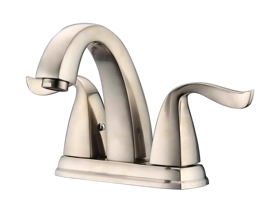 "2-Hole, 2-Handle Centerset Lavatory Faucet For 4"" Centers in Brushed Nickel (Standard Pull-Up Drain w/ Lift Rod D90 0010Bn Included) - Dawn® AB04 1273BN"