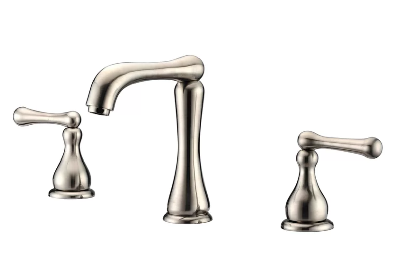 "3-Hole, 2-Handle Widespread Lavatory Faucet For 8"" Centers in Brushed Nickel (Standard Pull-Up Drain w/ Lift Rod D90 0010Bn Included) - Dawn® AB08 1155BN"