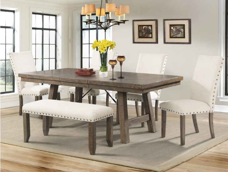 Dining Set Table Upholstered Side Chairs Bench