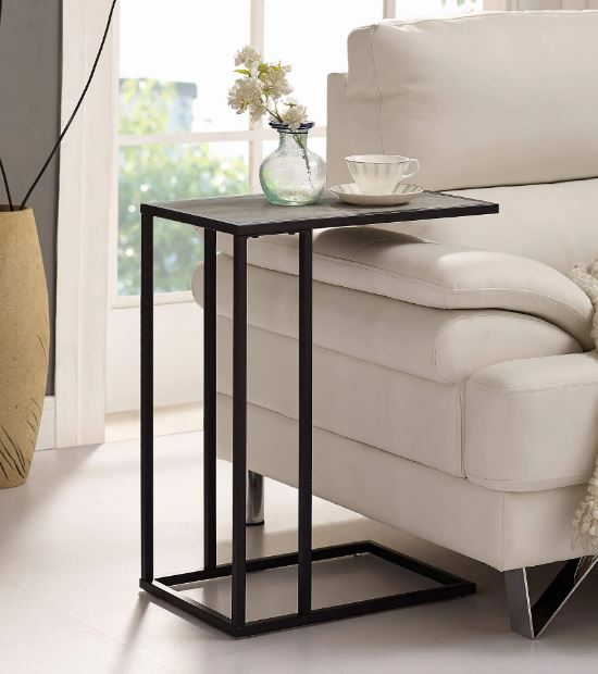 """20"""" Urban Industrial Modern Contemporary Transitional Asymmetrical Side Accent Table Nightstand in Grey Wash/ Black - Walker Edison AF20SCSTGW"""