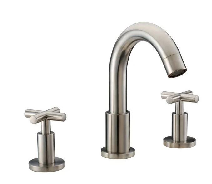 "3-Hole Widespread Lavatory Faucet w/ Cross Handles For 8"" Centers in Brushed Nickel (Standard Pull-Up Drain w/ Lift Rod D90 0010Bn Included) - Dawn® AB03 1513BN"