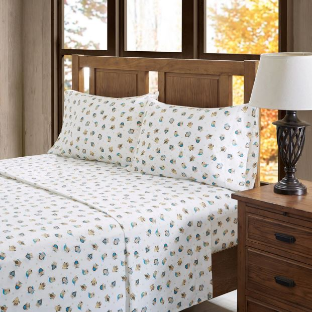 True North by Sleep Philosophy Cozy Flannel Full Sheet Set in Sand Owls - Olliix TN20-0087